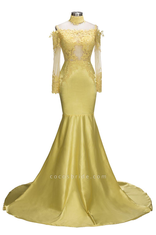 SCARLET | Mermaid Off-shoulder Floor Length Long Sleeves Appliqued Prom Dresses