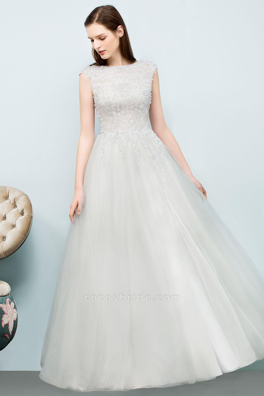 Modest Jewel Tulle A-line Evening Dress