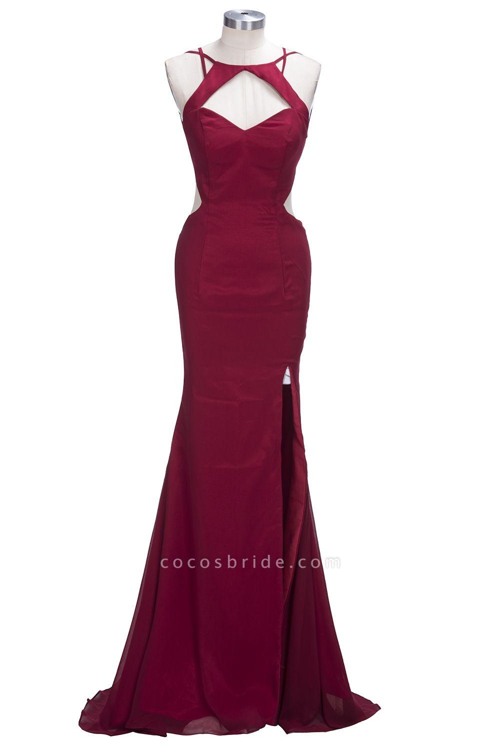 VICTORIA | Mermaid Sleeveless Long Cutouts Side Slit Burgundy Prom Dresses