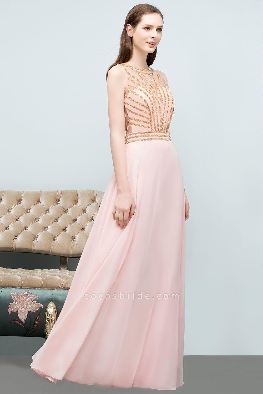 Sleek Jewel Chiffon A-line Evening Dress