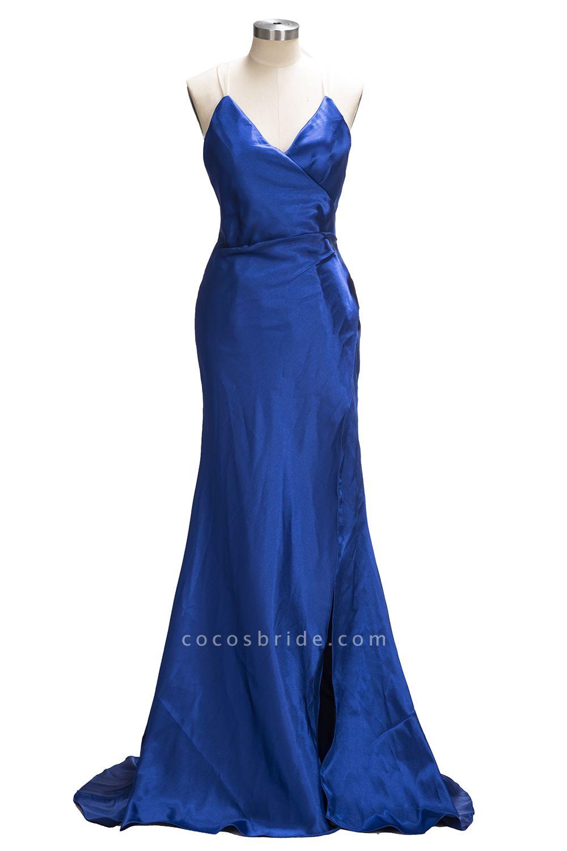 TERESA | Mermaid Floor Length V-neck Sleeveless Split Prom Dresses