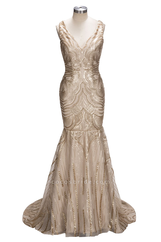 TANYA | Mermaid V-neck Sleeveless Long Champagne Sequins Prom Dresses