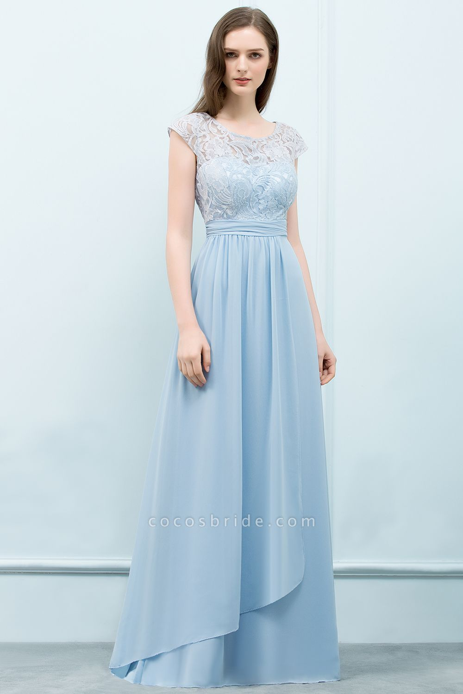 A-line Chiffon Lace Scoop Cap Sleeves Floor-Length Bridesmaid Dresses