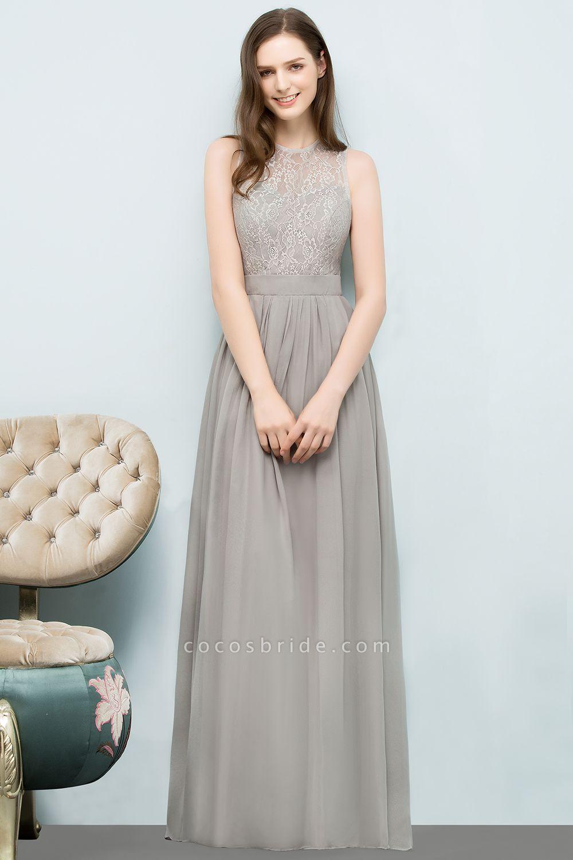 A-line Chiffon Lace Jewel Sleeveless Floor-Length Bridesmaid Dresses