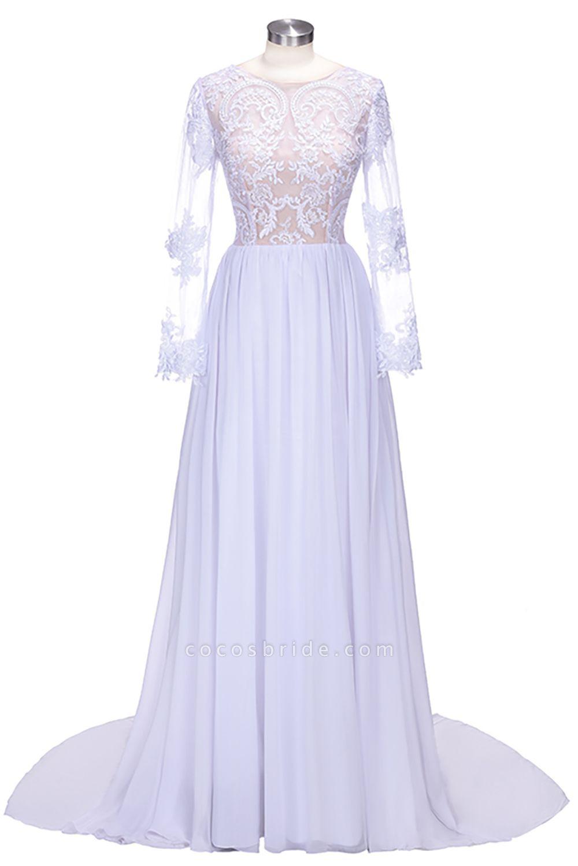 Long Sleeves Lace Appliques A-line Bridesmaid Dress