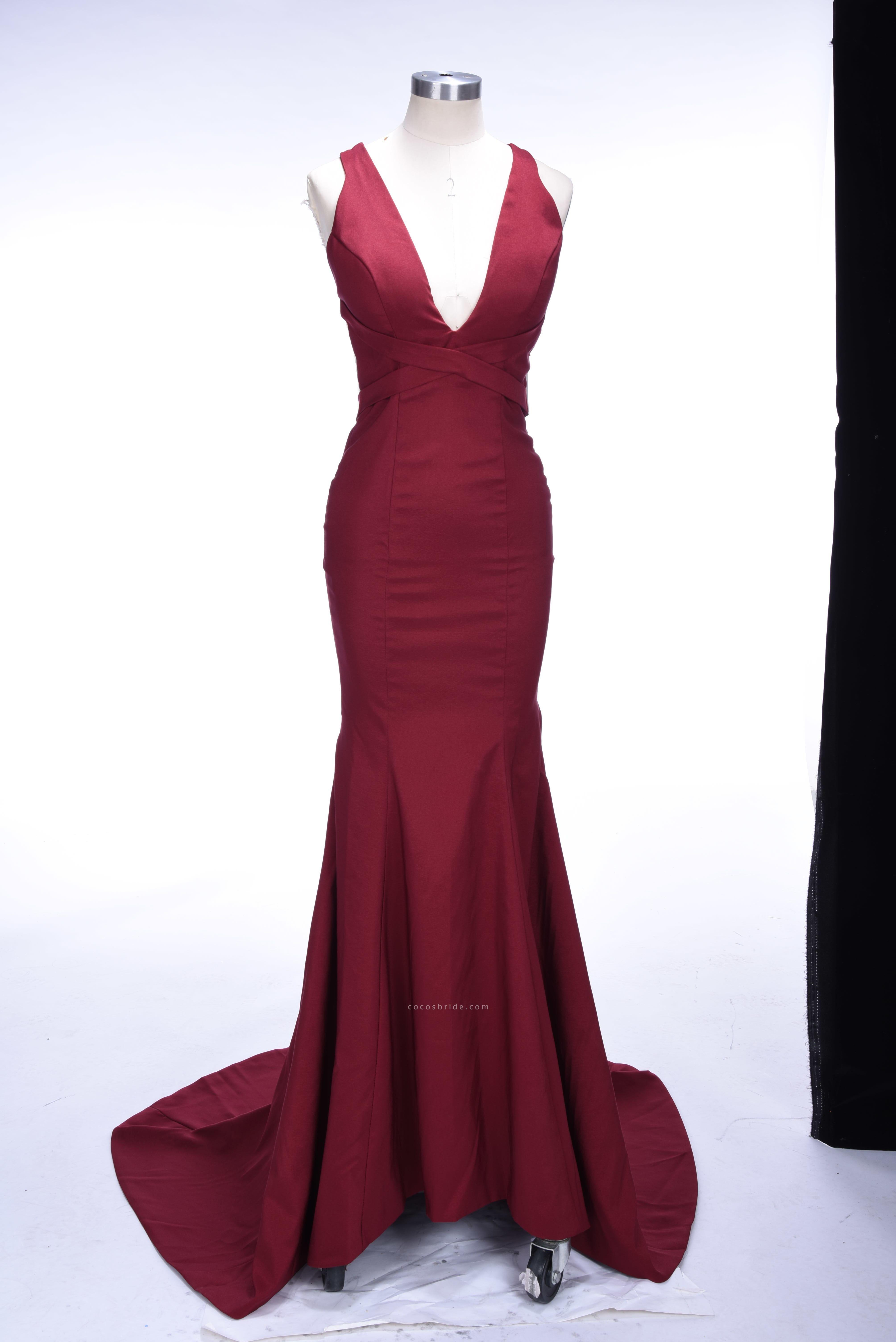 TESS | Mermaid V-neck Sleeveless Floor Length Burgundy Prom Dresses