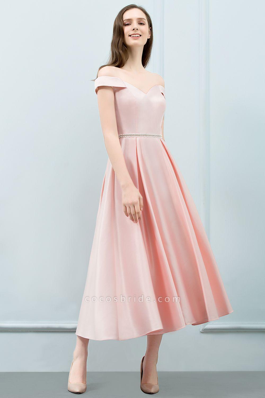 BM0829 A-Line Pink Off The Shoulder Crystal Long Bridesmaid Dress