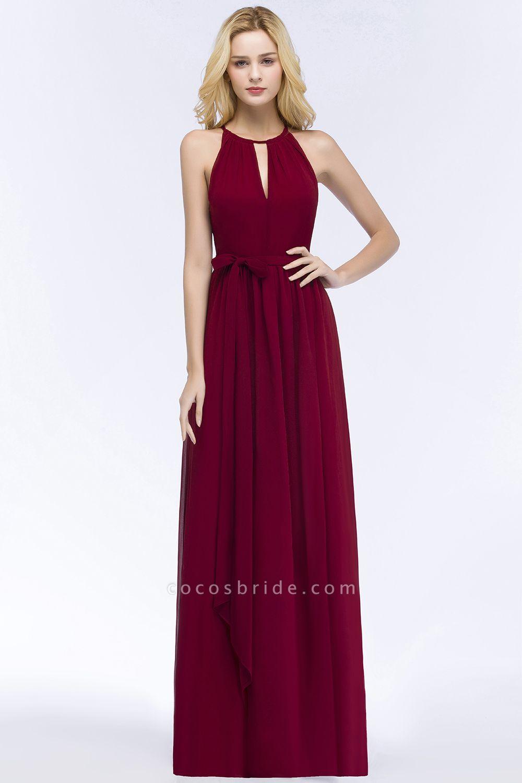 A-line Halter Floor Length Burgundy Bridesmaid Dresses with Bow Sash