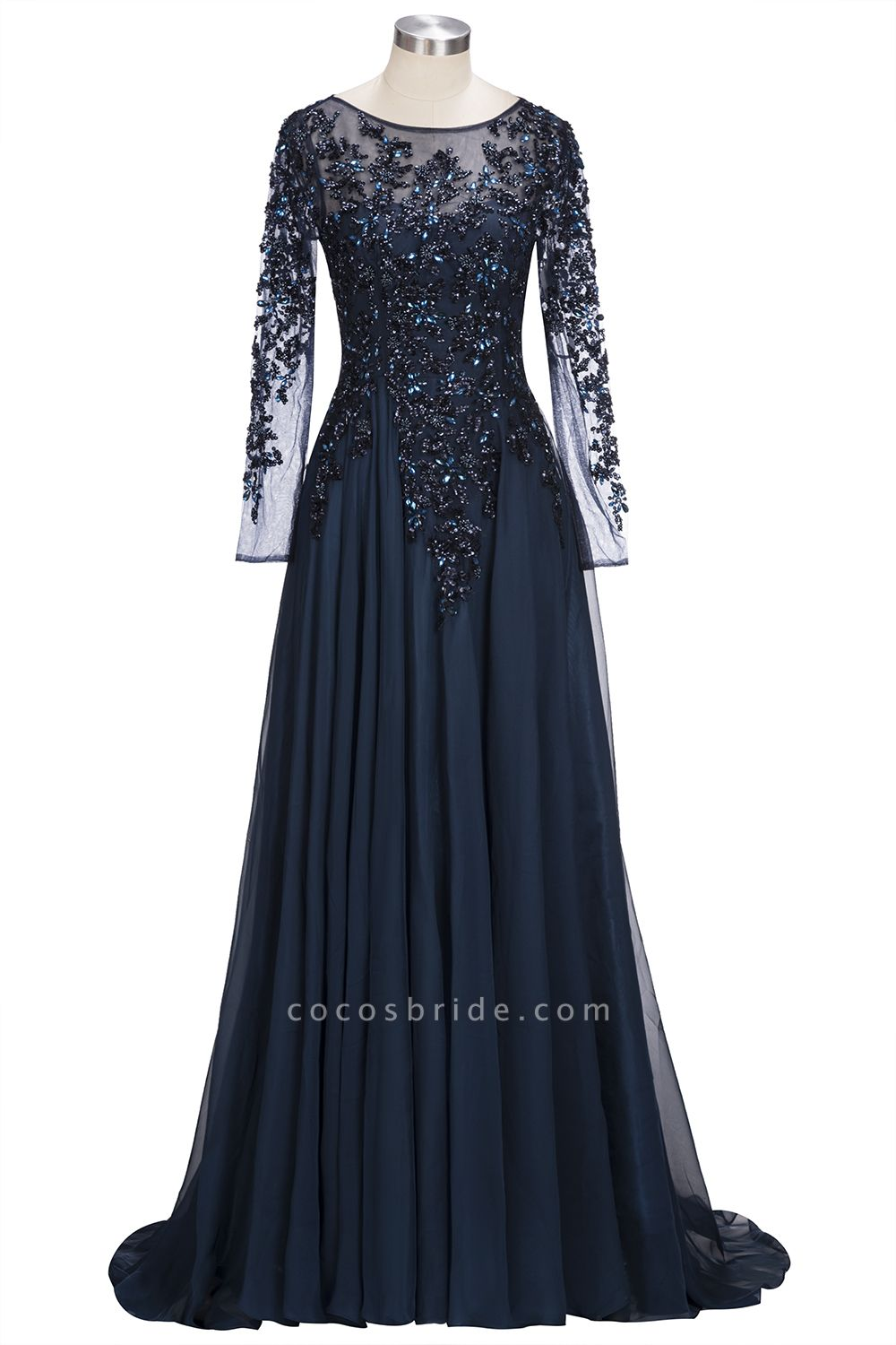 ROWENA | A-line Floor Length Long Sleeves Crystals Tulle Prom Dresses