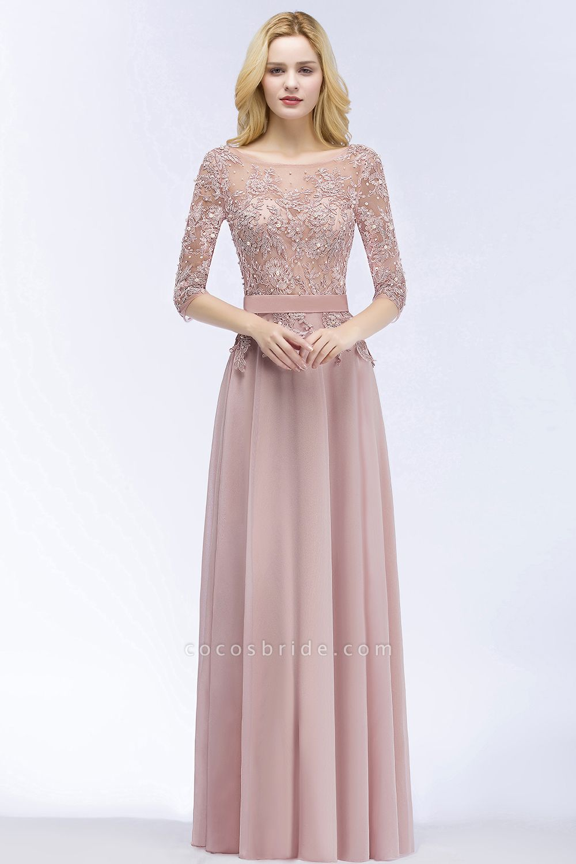 A-line Chiffon Appliques Jewel Half-Sleeves Floor-Length Bridesmaid Dresses with Sash