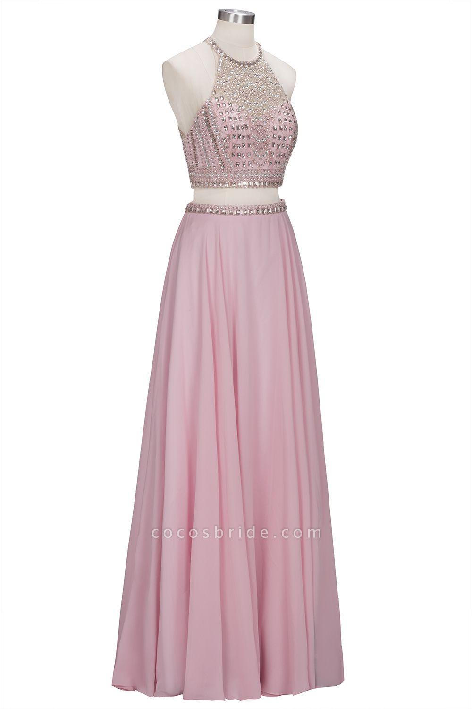 ROSETTA | A-line Two-piece Floor Length Crystals Beading Chiffon Prom Dresses