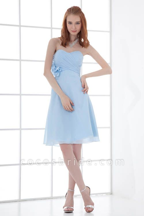 Sleek Strapless Chiffon A-line Bridesmaid Dress
