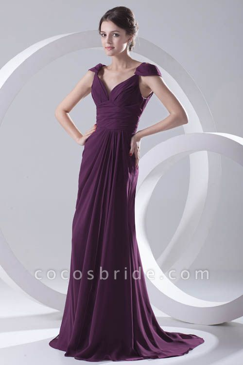 Glorious V-neck Stretch Satin A-line Bridesmaid Dress