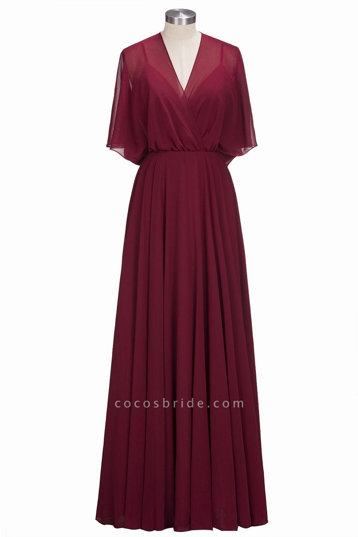 OLGA | A-line V-neck Floor Length Burgundy Chiffon Bridesmaid Dresses