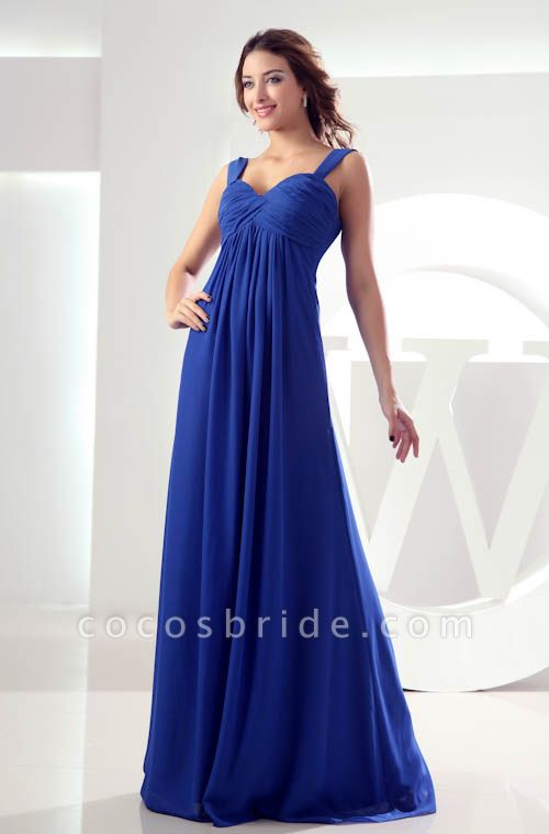KILEY | A Type Heart Collar Chiffon Bridesmaid Dress with Fold