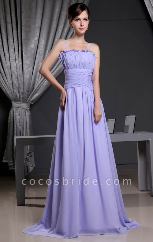A Type Spaghetti Straps Chiffon Bridesmaid Dress with Fold