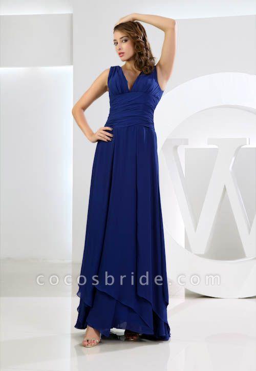 LANA | A Type V-neck Long Sleeveless Chiffon Royal Blue Bridesmaid Dress with Small folds
