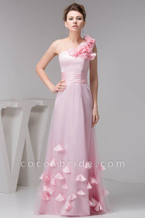 Amazing One Shoulder Chiffon Column Evening Dress