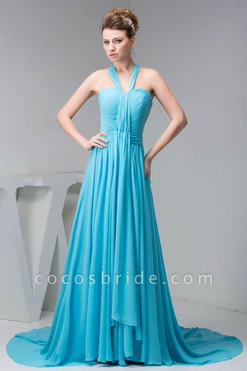 Excellent Halter Chiffon Princess Evening Dress
