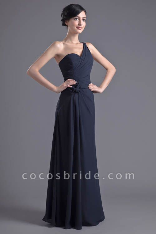 KYLEIGH | A Type One-shoulder Chiffon Bridesmaid Dress with Fold