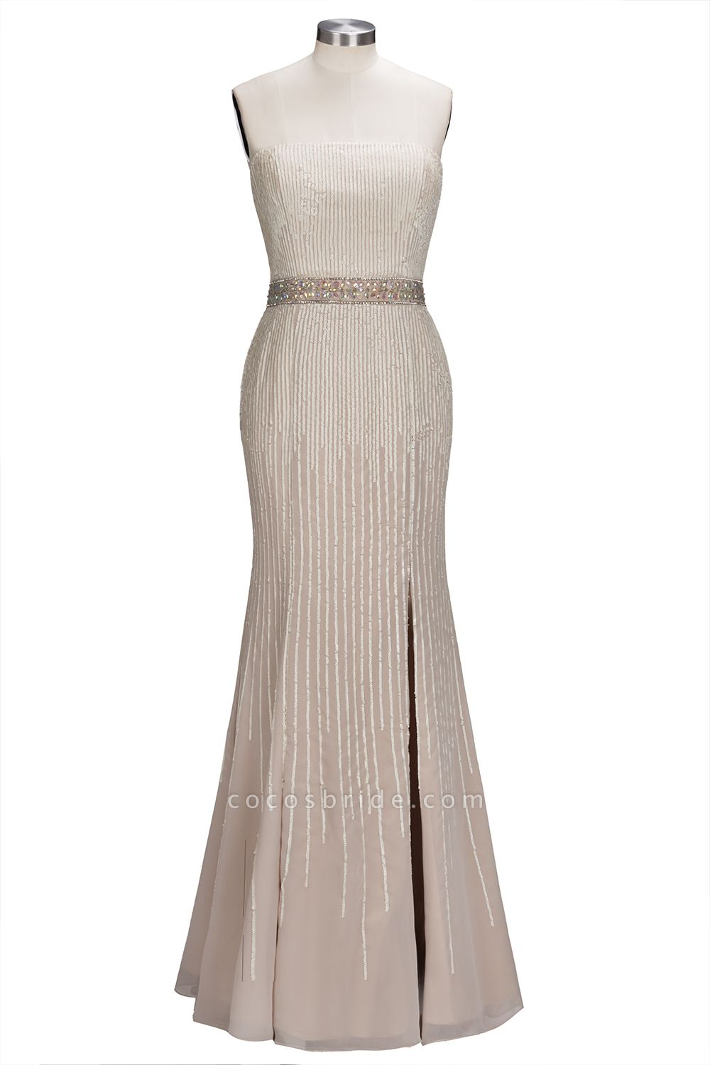 OLIVE | Mermaid Strapless Long Sequined Bridesmaid Dresses with Crystal Sash