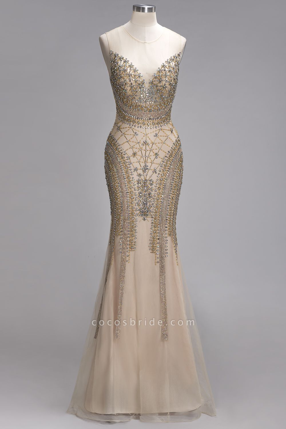 PRISCILLA | Mermaid Sleeveless Floor Length Backless Prom Dresses with Crystals Beading