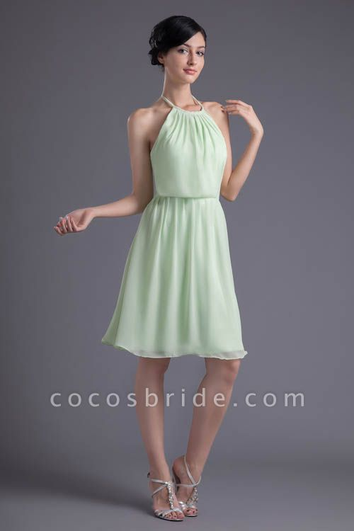 KYLEE | A Type Sector GreenChiffon Bridesmaid Dress with Fold