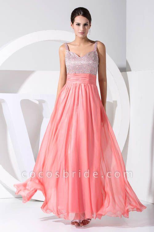 Attractive Straps Chiffon A-line Bridesmaid Dress