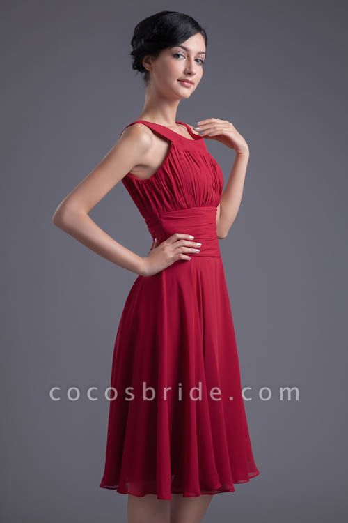 KYLIE | A Type Wide Shoulder Straps Chiffon Bridesmaid Dress with Zip?