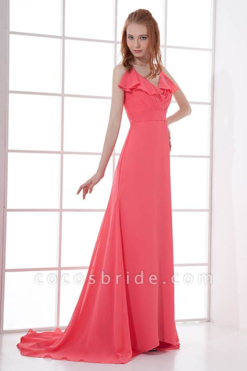 LEAH | A Type V-neck Drag To Long Sleeveless Chiffon Watermelon Red Bridesmaid Dress with Front Split