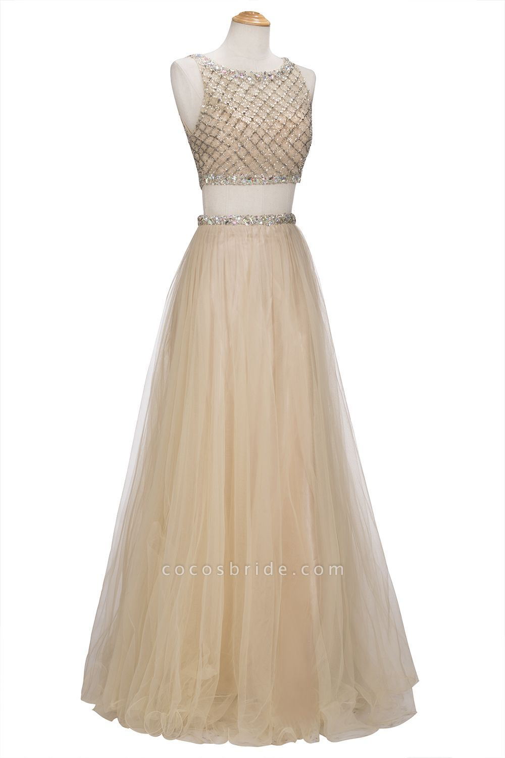 OPHELIA | A-line Two-piece Floor Length Sleeveless Tulle Prom Dresses with Crystals
