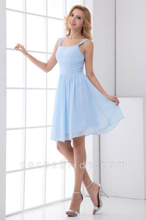Square Neck Ruffle A-line Chiffon Bridesmaid Dress