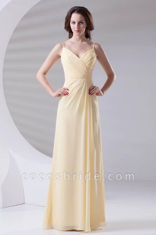 LILIANNA | A-line Spaghetti-Straps Floor Length Chiffon Bridesmaid Dresses