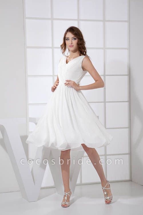 KIMBERLY | A Type V-Neck Chiffon White Bridesmaid Dress with Fold