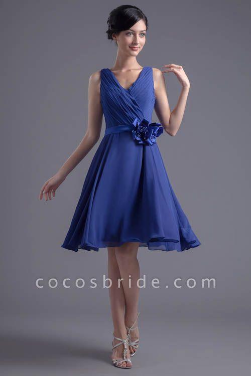Excellent V-neck Chiffon A-line Bridesmaid Dress
