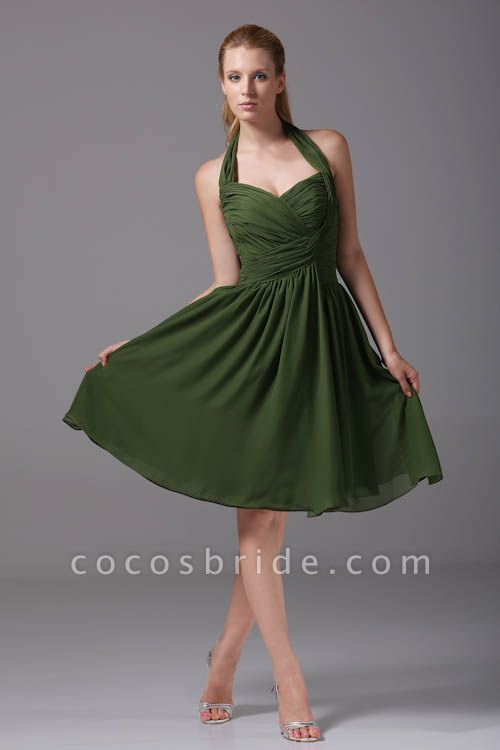 Best Halter Chiffon A-line Bridesmaid Dress