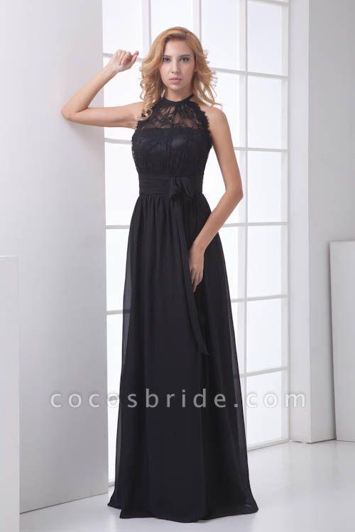 LEANNA | A Type Halter Long Sleeveless Chiffon Black Bridesmaid Dress with Lace