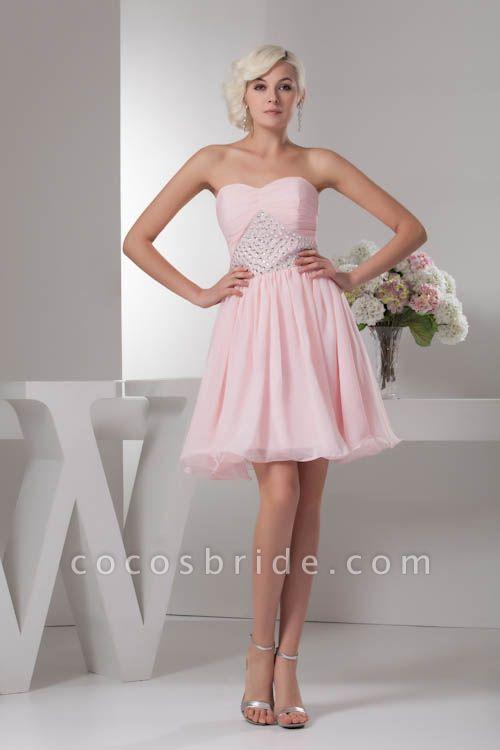 KRISTINA | A Type Heart Collar Chiffon Bridesmaid Dress with Rhinestone