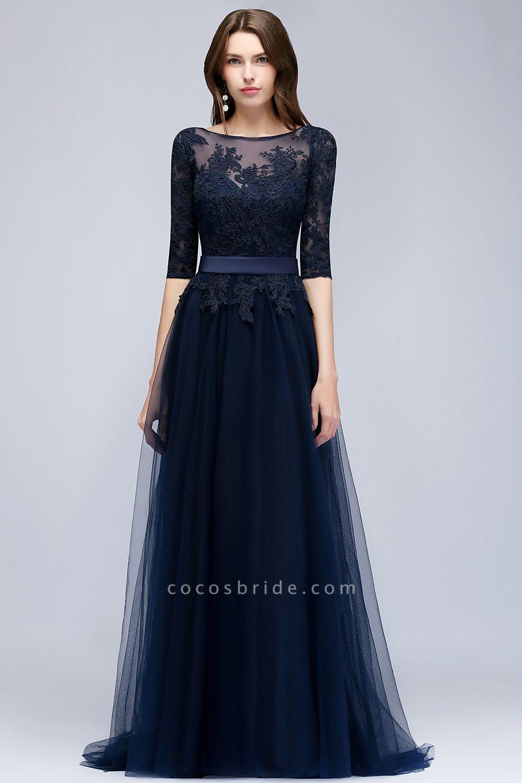 Sleek Jewel Tulle A-line Evening Dress