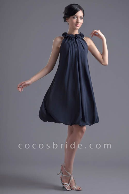 Affordable Jewel Chiffon A-line Bridesmaid Dress
