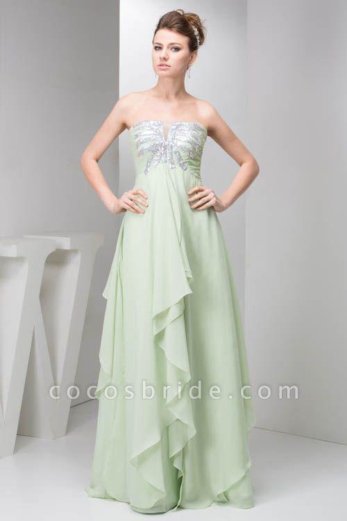 Marvelous Strapless Chiffon Princess Evening Dress