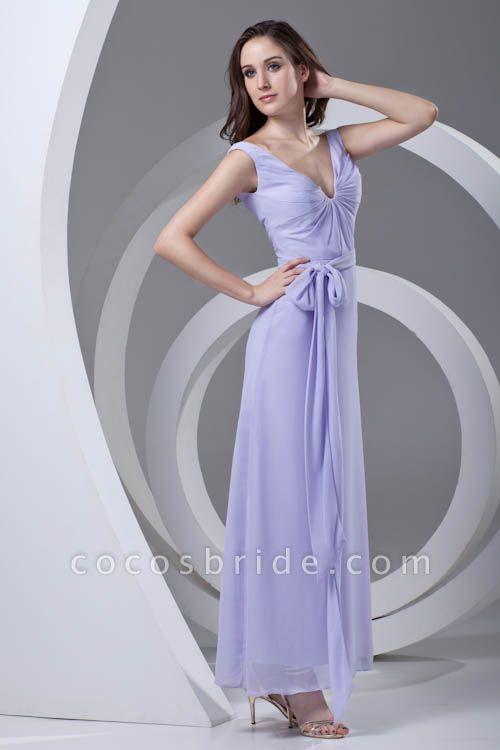 LERUC | A Type V-neck Long Sleeveless Chiffon Lilac Purple Bridesmaid Dress with Belt