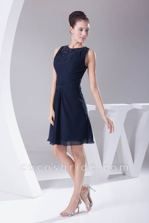 Graceful Jewel Chiffon A-line Bridesmaid Dress