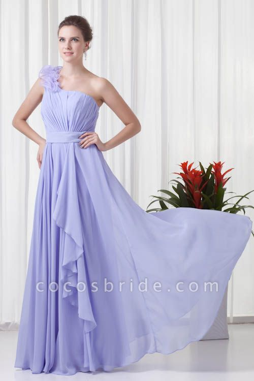 KYNLEM | A Type One Shoulder Chiffon Bridesmaid Dress with Flowers