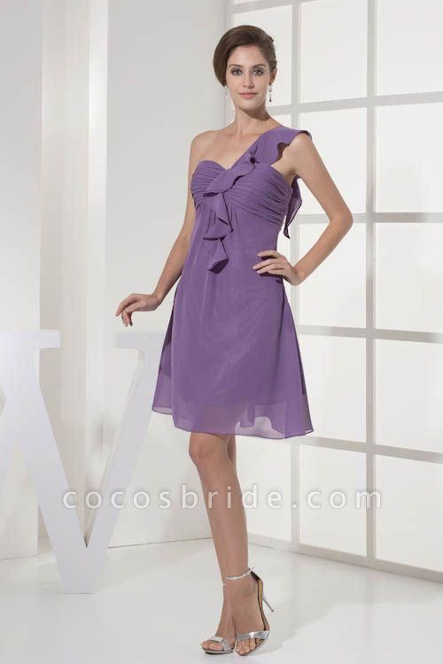 Exquisite One Shoulder Chiffon A-line Bridesmaid Dress
