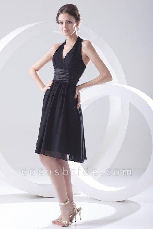 Elegant Halter Chiffon A-line Bridesmaid Dress