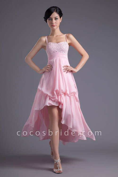 LEA | A Type Heart-shaped Short Before Long Sleeveless Chiffon Candy Pink Bridesmaid Dress with Fold