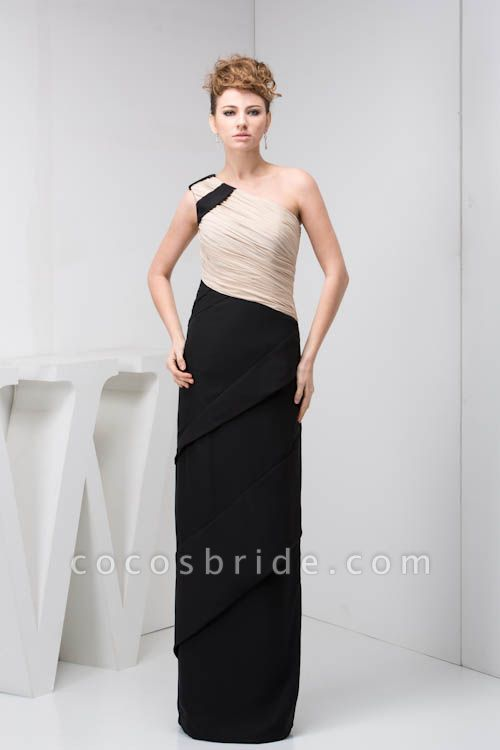 KRISTEN | A Type One Shoulder Black Chiffon Bridesmaid Dress with Fold