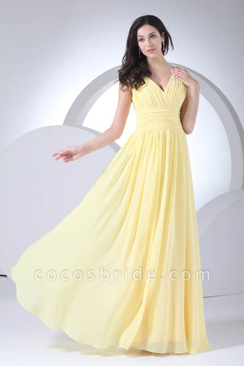 Excellent V-neck Chiffon A-line Bridesmaid Dress