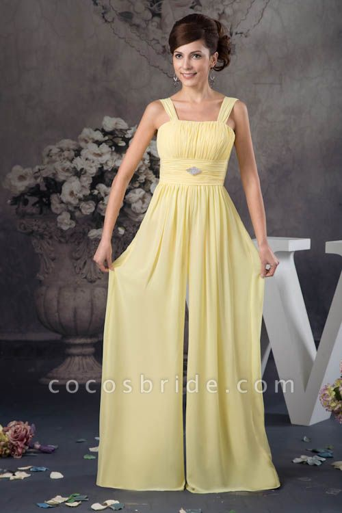 Eye-catching Straps Chiffon A-line Bridesmaid Dress